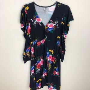 ASOS Black Pink Floral Dress Size 8